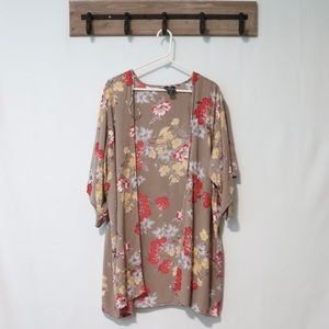 Angie gray red floral rayon kimono oversize large
